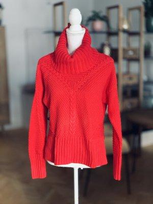 Pull tricoté rouge coton