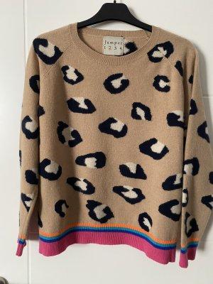 Jumper 1234 Kaszmirowy sweter beżowy-ciemnoniebieski