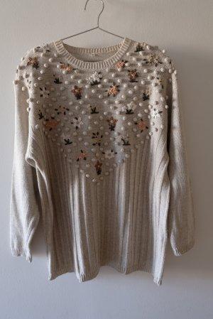 Pullover aus Leinenmischung mit Noppen und Stickerei