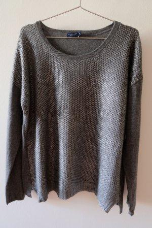 Pullover aus Wolle und Kaschmir mit glänzendem Druck vorne