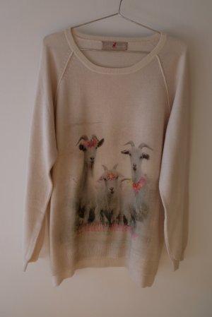 Pullover aus Wolle und Kaschmir mit Ziegenmotivdruck und kleinen Glitzersteinen