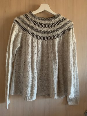 Hollister Crochet Sweater white-black