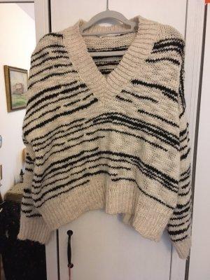 Mango Oversized Sweater black-natural white