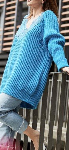 Balenciaga Pull à gosses mailles bleu