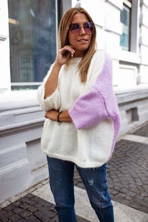 Bastet Sweter oversize jasny fiolet-kremowy