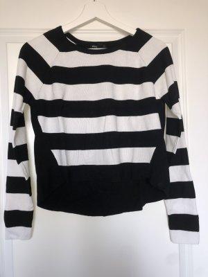 Mango Crewneck Sweater white-black