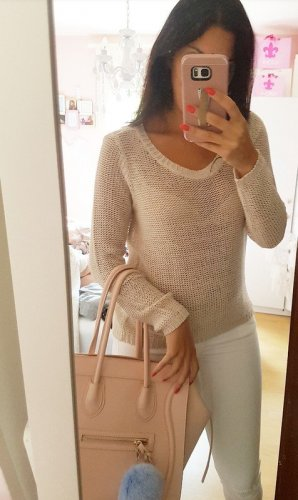Pullover beige creme XS blogger hipster boho H&M