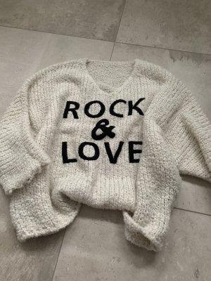B.yu Italy Sweter z grubej dzianiny w kolorze białej wełny-czarny