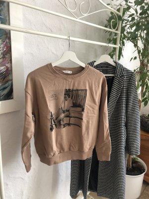Pullover beige mit Print Frau