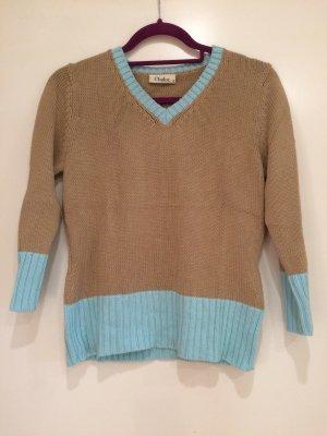 Pullover beige-türkis, Chaloc, Gr. 36