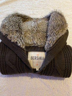Bershka Sweter oversize ciemnobrązowy
