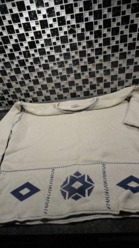 Hess Natur Pull norvégien beige clair-bleu coton