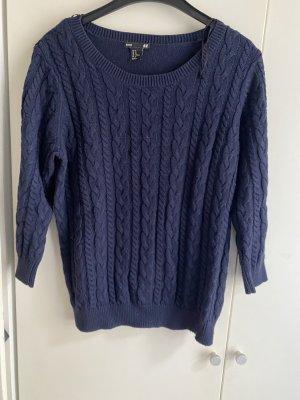 Pullover blau M 38 Zopfmuster