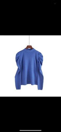 Pullover blau puff Ärmel neu