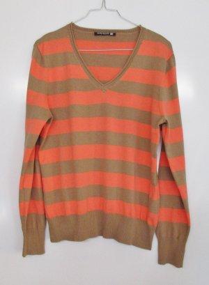 Pullover Blockstreifen Betty Barclay Größe L 42 Neon Orange Koralle Beige Hellbraun Pulli Strick Streifen V-Neck Baumwolle