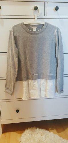 H&M Długi sweter biały-jasnoszary