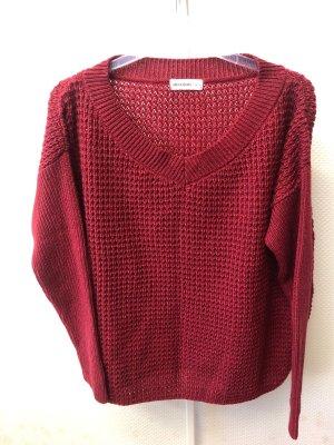 24Colours Pull tricoté rouge foncé