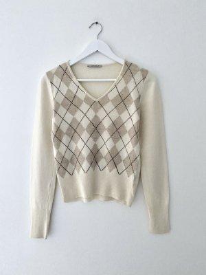 GLENFIELD Maglione di lana bianco sporco-marrone chiaro