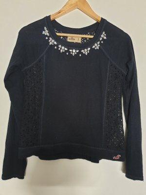 Hollister Crochet Sweater dark blue