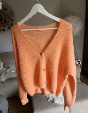 Pullover Cardigan Strickjacke Orange blogger boho