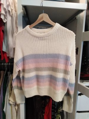 Pullover Creme pastel gestreift color blocking pastell