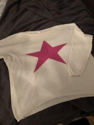 Pullover D& F Fashion Wolle Natur mit pink Stern Einheitsgrösse