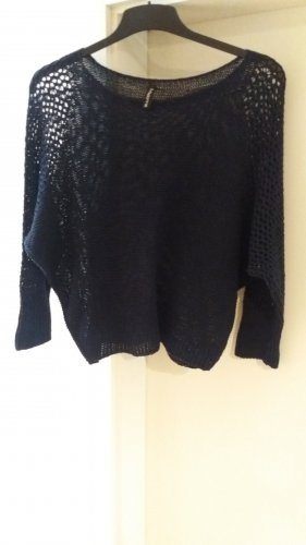 Crochet Sweater dark blue mixture fibre