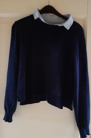 H&M Conscious Collection Pull en laine bleu foncé-bleu azur