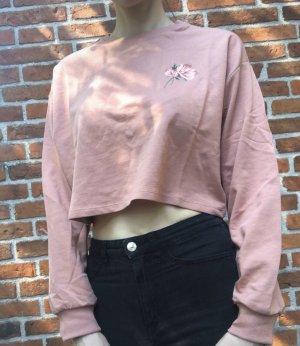 Pullover Damen Shirt Langarm rosa Größe 36 S H&M Bauchfrei