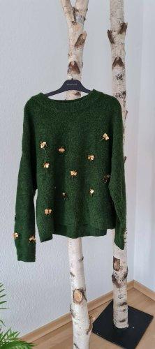 Pullover dunkel grün mit Fliegen gr. S