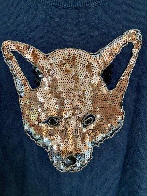 Pullover dunkelblau mit Fuchskopf Pailletten Gr. 40