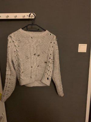 Zara Knit Crochet Sweater grey