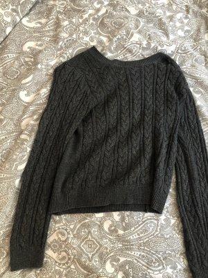 H&M Warkoczowy sweter antracyt-ciemnoszary