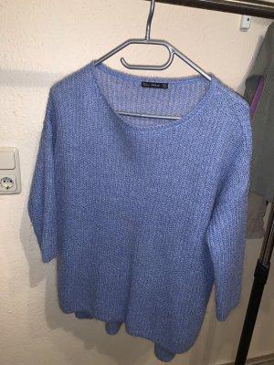 Mango Długi sweter bez rękawów błękitny