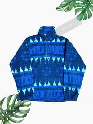 Pullover fleece blau Wave board Welle Muster fancy Neunziger Oversize unisex | Vintage | 38-44