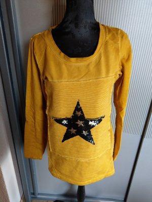 Pullover gelb Stern Pailletten liberty