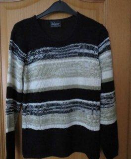 Pullover, Gr.40/42, schwarz-beige, hervorragend