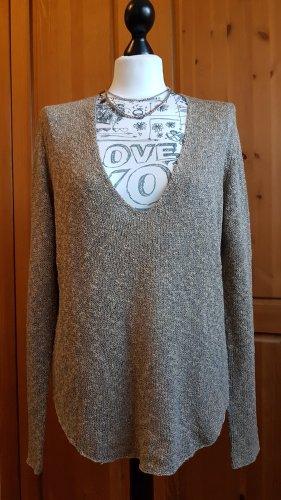 Zara Knit Pull col en V gris-beige