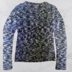 Clockhouse Knitted Sweater white-blue polyacrylic