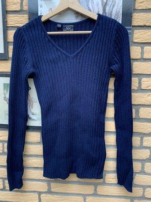 bpc Sweter z dzianiny ciemnoniebieski