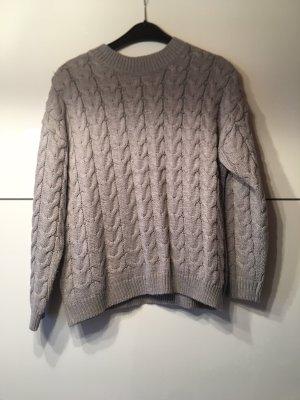 Mango Warkoczowy sweter jasnoszary