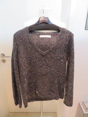 Pullover grau anthrazit V Ausschnitt mit Pailletten