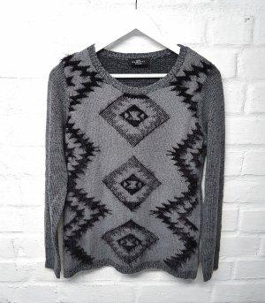 Pullover Grau Schwarz Feather Yarn Gr. 36/ 38