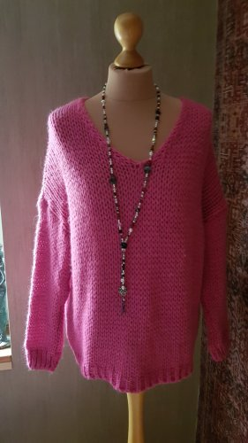 Made in Italy Coarse Knitted Sweater magenta polyacrylic