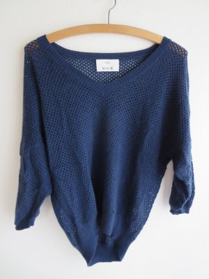 Allude Coarse Knitted Sweater dark blue cashmere