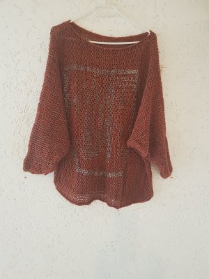 Hand made Pull oversize cognac-rouille