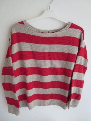 Pullover Grobstrick Streifen rot-grau Casual