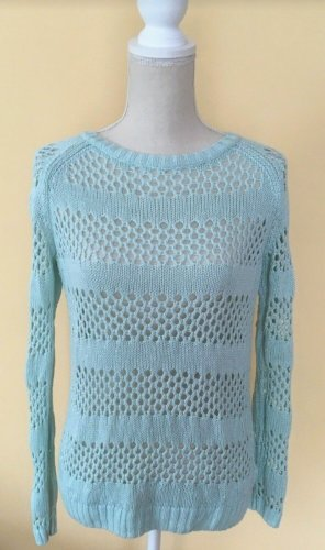 1982 Coarse Knitted Sweater mint-turquoise