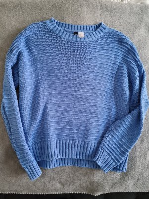 H&M Crochet Sweater cornflower blue mixture fibre