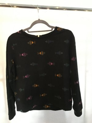 Pullover H&M S schwarz mit Fischen